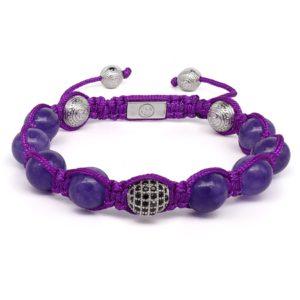 Браслет Шамбала Karma Jewels LS-04 из аметиста и серебра